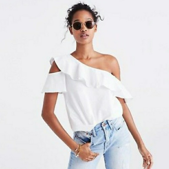 Madewell Tops - Madewell one shoulder ruffle top white cotton 10
